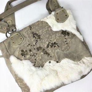 Big Buddha Suede Leather Real Fur Handbag Tote